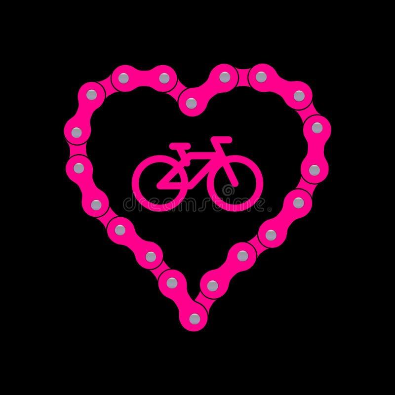 Coração do vetor feito da corrente da bicicleta ou da bicicleta Fundo cor-de-rosa do coração mais o ícone da amostra da bicicleta ilustração royalty free