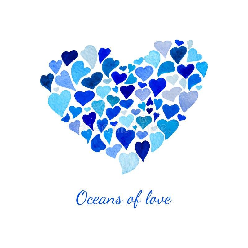 Coração do vetor feito de poucos corações da aquarela ilustração do vetor