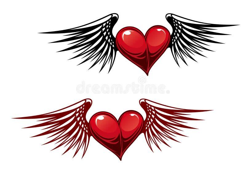 Coração do vintage com asas ilustração do vetor