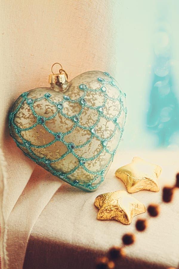 Coração do vintage do Natal imagem de stock
