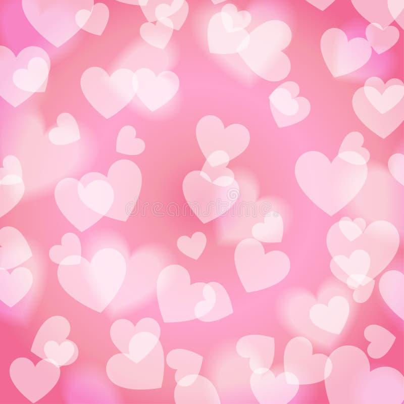 Coração doce cor-de-rosa de Bokeh, teste padrão, ilustração do vetor