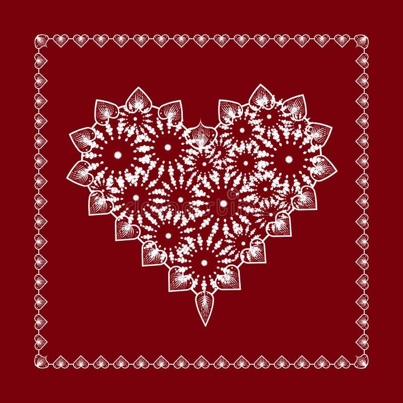 Coração doce delicado do laço em um fundo vermelho ilustração do vetor