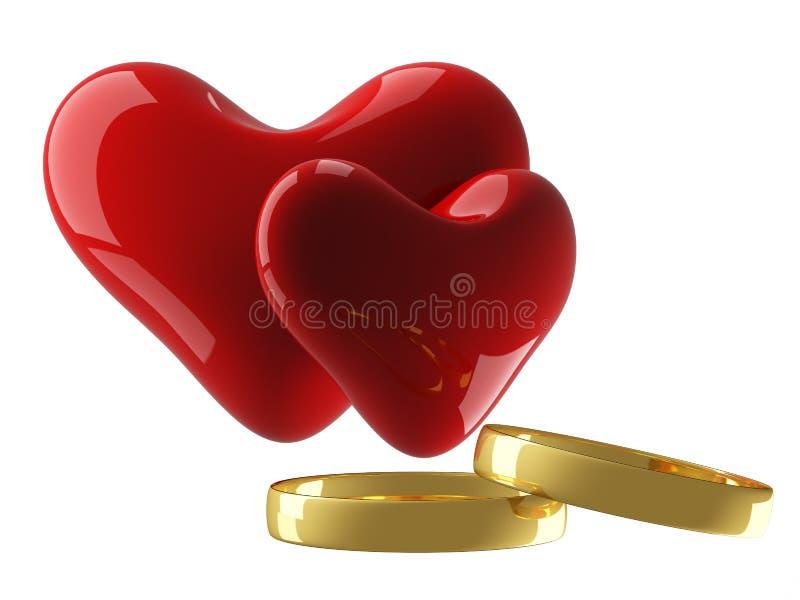 Coração dois com anéis de casamento ilustração stock