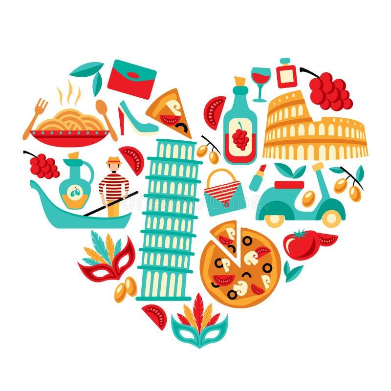 Coração dos ícones de Itália ilustração stock