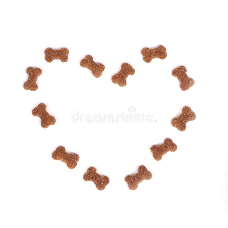 Coração dos alimentos para animais domésticos imagem de stock