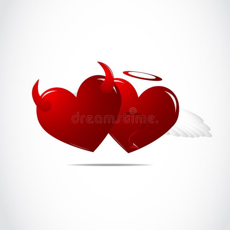 Coração dos bens e o mal ilustração do vetor
