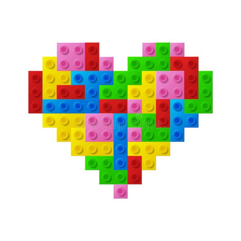 Coração dos blocos plásticos do brinquedo. ilustração royalty free