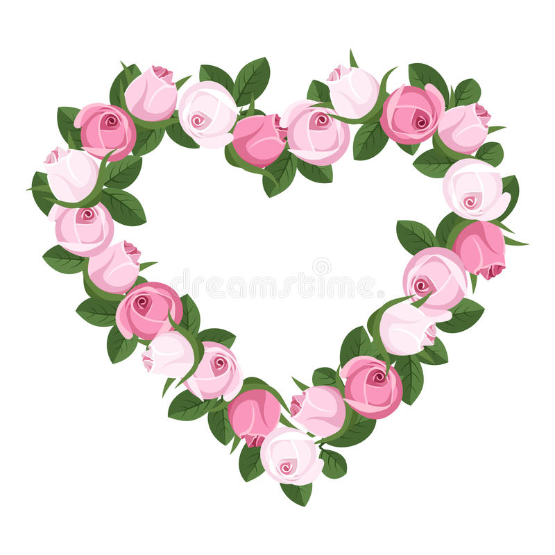 Coração dos botões cor-de-rosa. ilustração do vetor