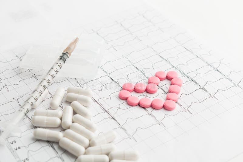 Coração dos comprimidos e da seringa no cardiograma fotografia de stock