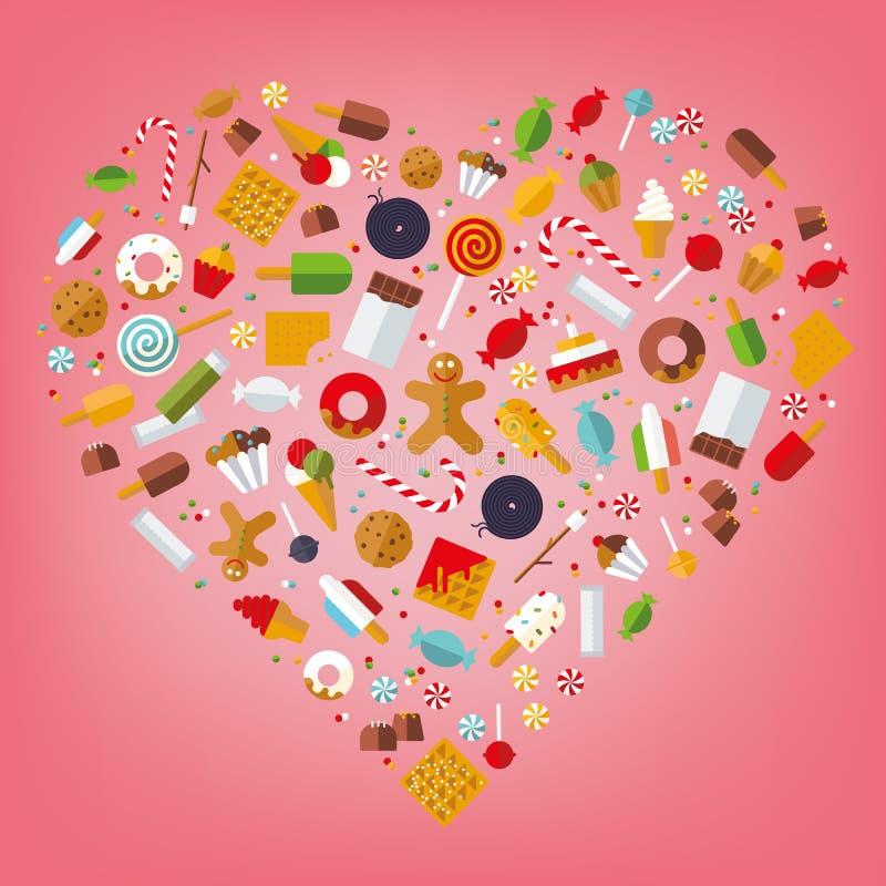 Coração dos doces e dos doces ilustração do vetor