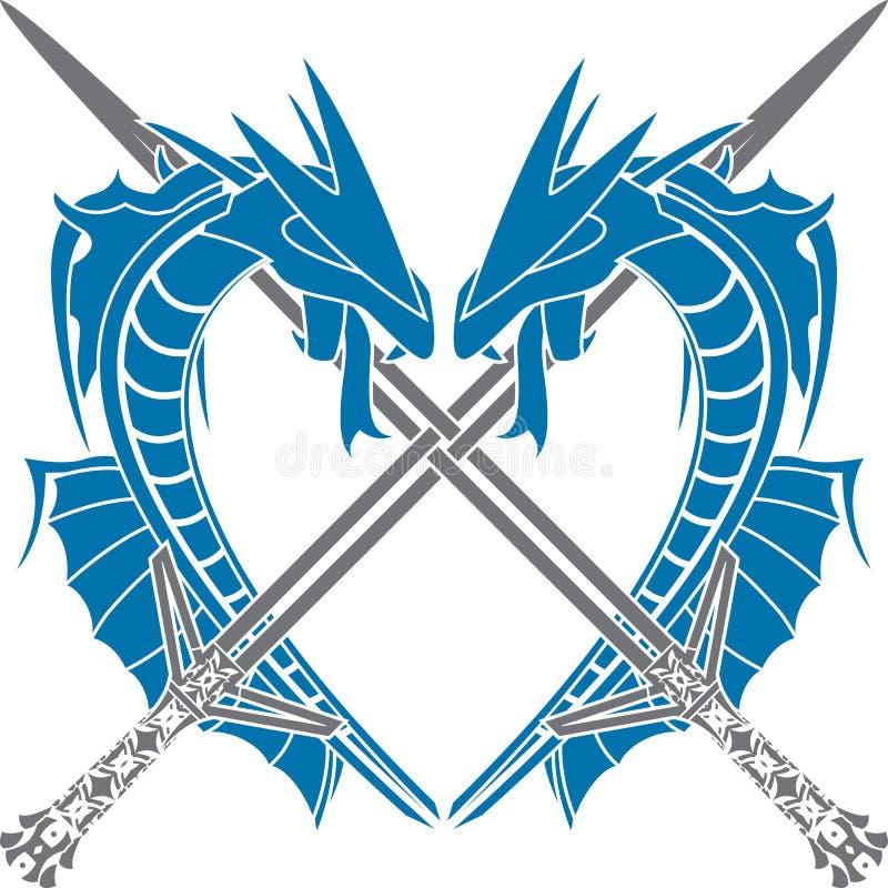 Coração dos dragões ilustração royalty free
