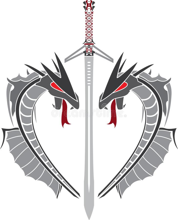 Coração dos dragões e da espada da fantasia ilustração royalty free
