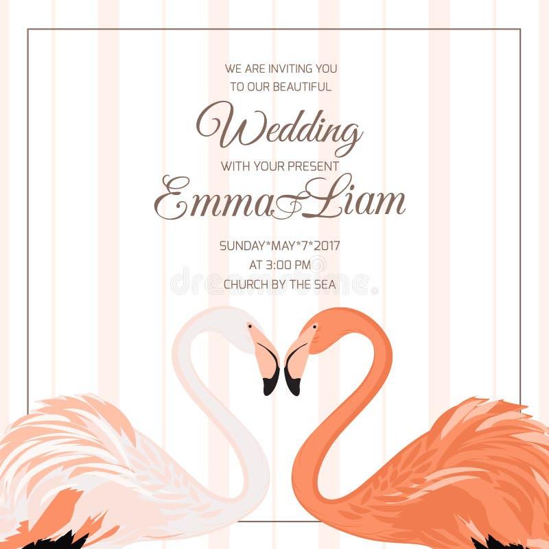 Coração dos pares do flamingo do convite da cerimônia de casamento ilustração do vetor