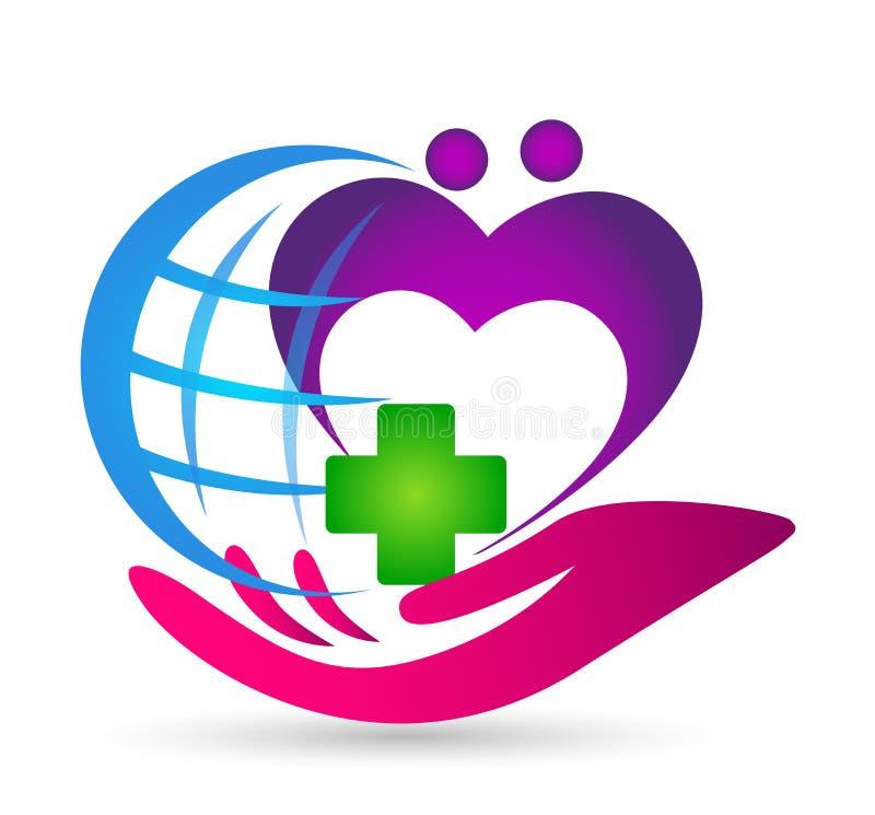 Coração dos povos do mundo do globo para importar-se o vetor do elemento do ícone do logotipo da mão do cuidado da clínica médica ilustração do vetor
