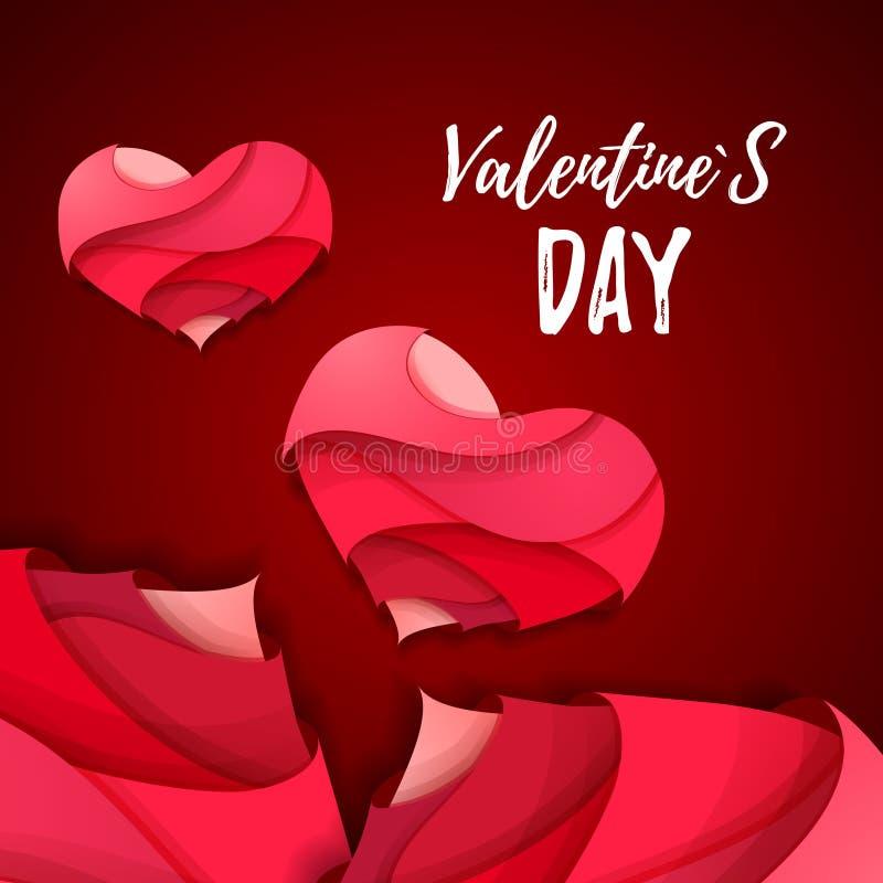 coração dos Valentim do origâmi 3d Valentine& x27; dia de s ilustração do vetor