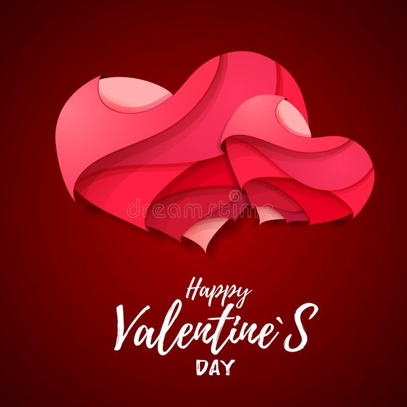 coração dos Valentim do origâmi 3d Valentine& x27; dia de s ilustração stock