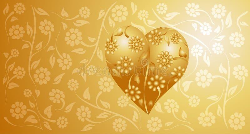 Coração dourado ilustração stock