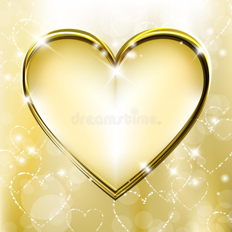 Coração dourado ilustração do vetor