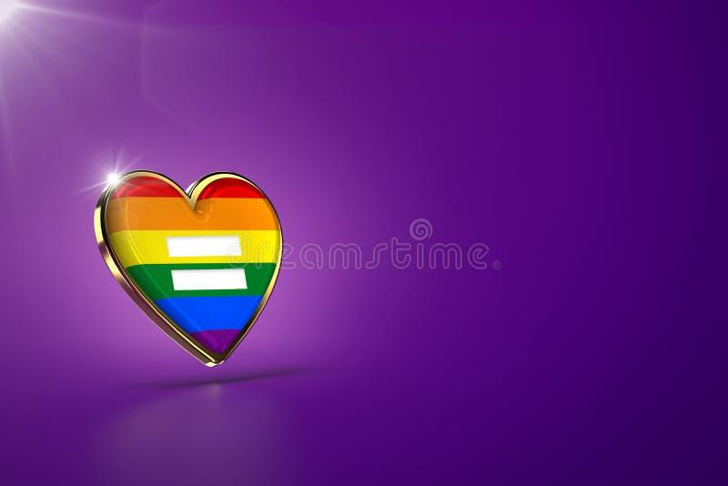 Cora??o dourado com arco-?ris e s?mbolo da igualdade para dentro O amor ? conceito do amor Fundo roxo, espa?o da c?pia rendi??o 3 ilustração do vetor