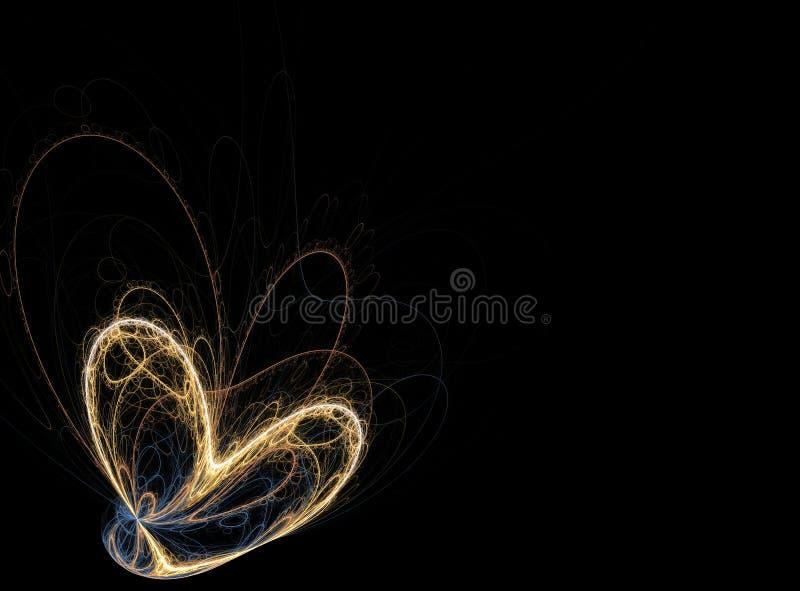 Coração dourado impetuoso de linhas do conduto fotografia de stock