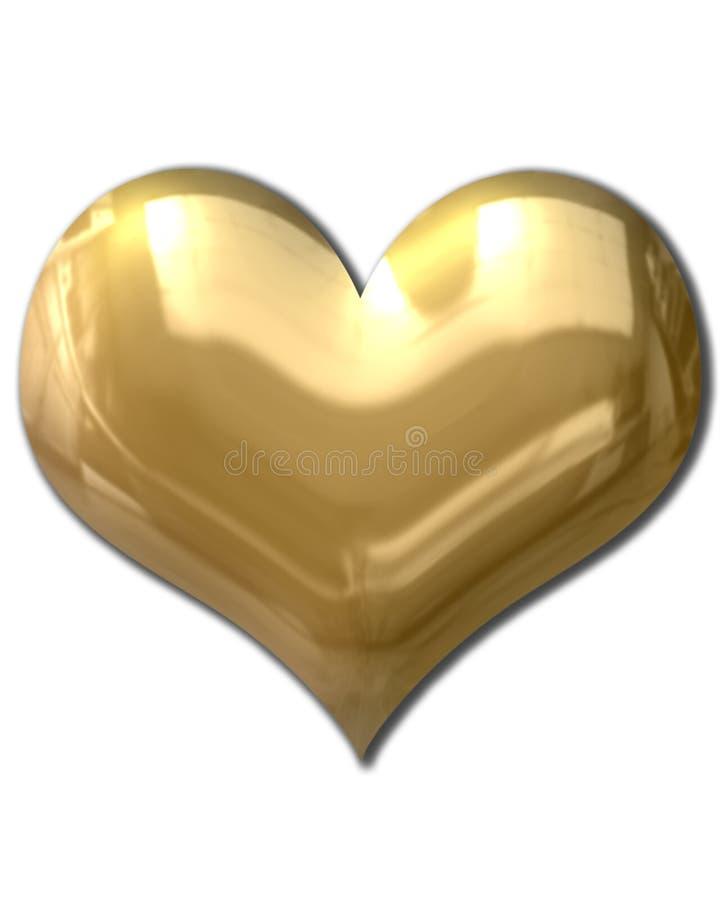 Coração dourado inchado ilustração stock