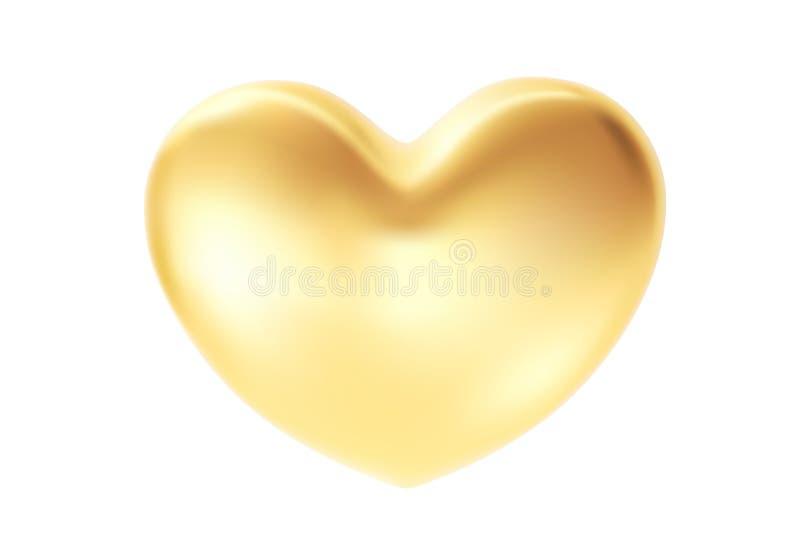 Coração dourado isolado no fundo branco O símbolo do Valentim do St ilustração 3d realística com um coração do Valentim do ouro ilustração do vetor
