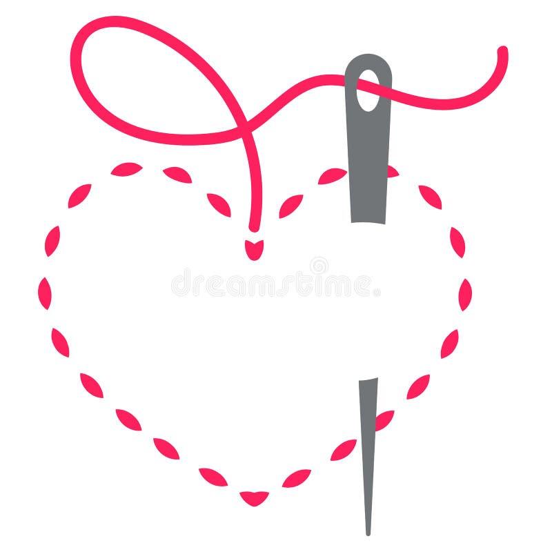 Coração e agulha imagens de stock