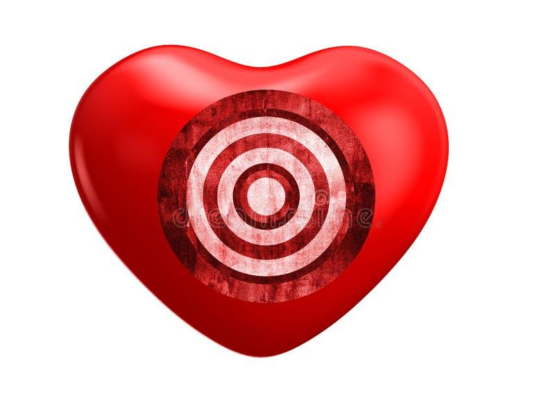 Coração e alvo vermelhos ilustração do vetor