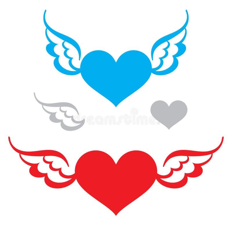 Coração e asas ilustração royalty free
