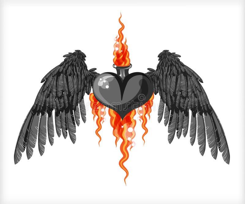Coração e asas pretas ilustração royalty free