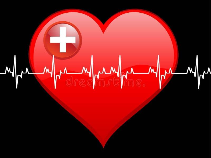 Coração e batida ilustração do vetor