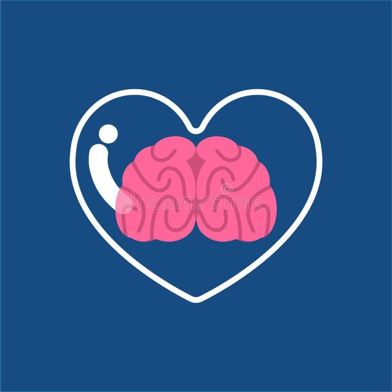 Coração e cérebro de vidro transparentes para dentro Embarcação da mente ilustração do vetor