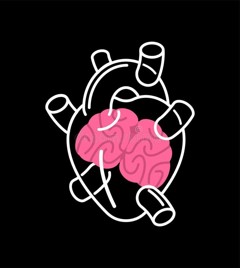 Coração e cérebro de vidro transparentes para dentro Embarcação da mente ilustração royalty free