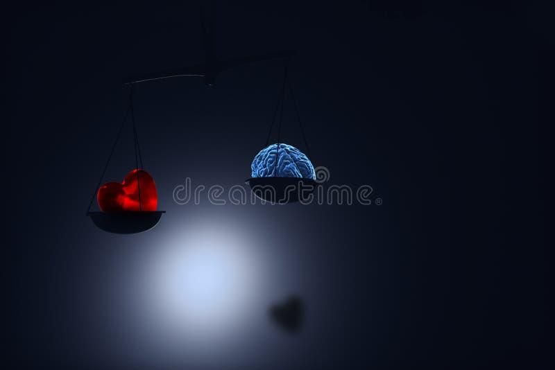 Coração e cérebro vermelhos sobre na escala ilustração stock