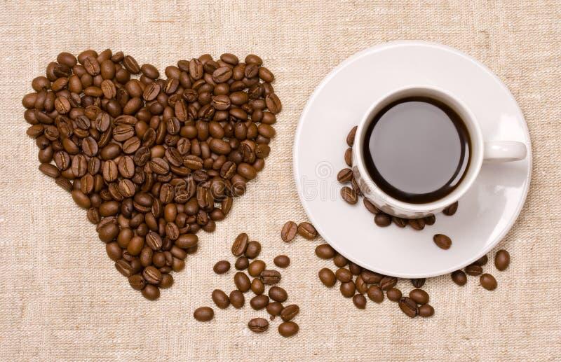 Coração e café fotos de stock