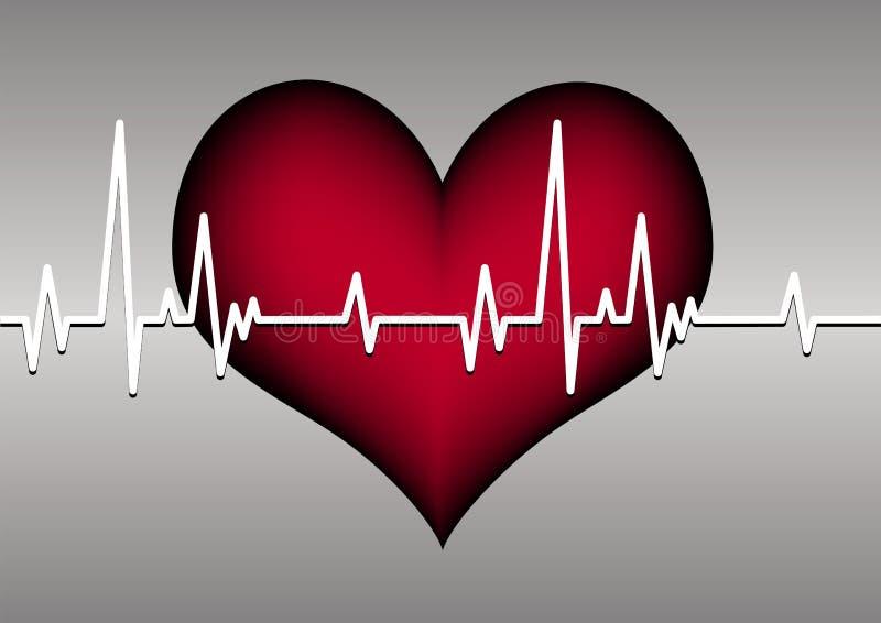 Coração e cardiogram ilustração stock