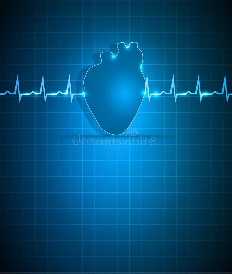 Coração e cardiograma abstratos azuis ilustração royalty free