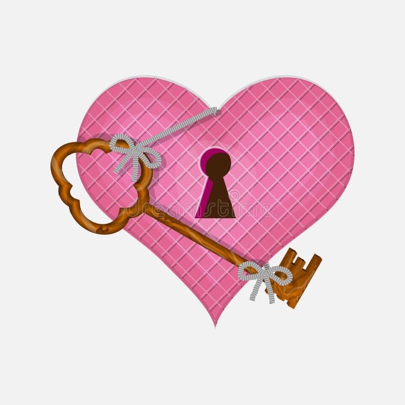 Coração e chave para abrir seu dia de Vallentine ilustração do vetor