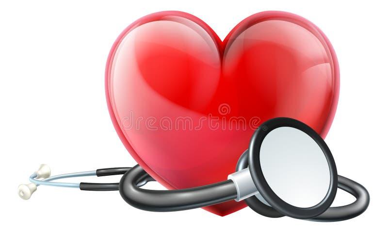 Coração e conceito do estetoscópio ilustração stock