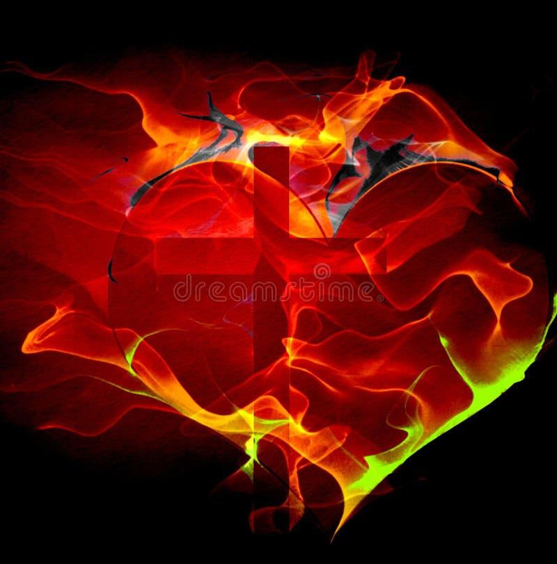 Coração e cruz ilustração royalty free