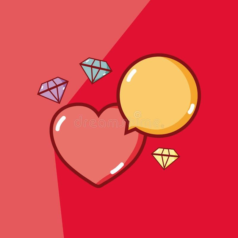 Coração e diamantes ilustração stock