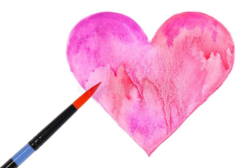 Coração e escova da aquarela isolados no branco. Dia de Valentim imagem de stock
