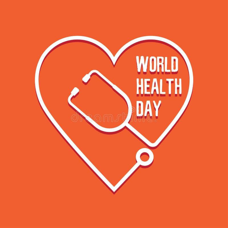 Coração e estetoscópio do dia de saúde de mundo ilustração royalty free