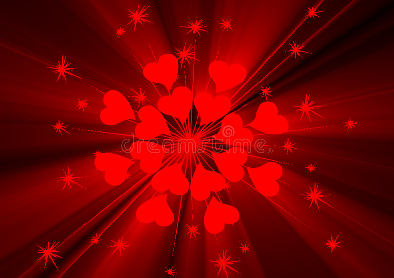 Coração e estrelas ilustração royalty free