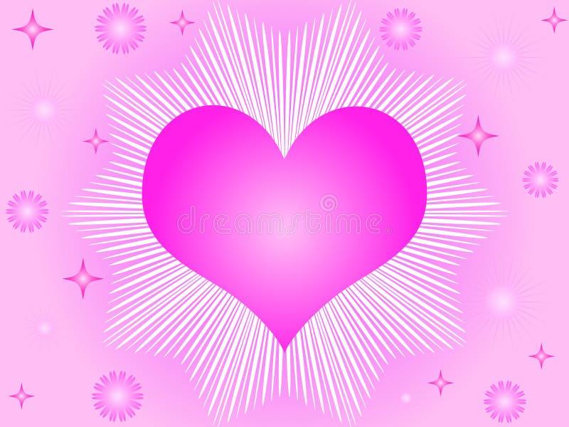 Coração e estrelas cor-de-rosa ilustração royalty free