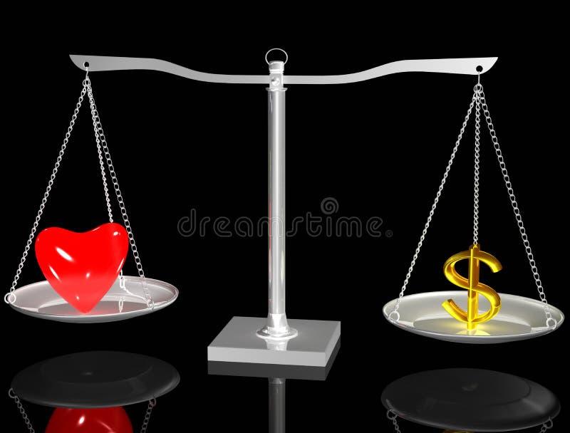 Coração e euro no balanço ilustração do vetor