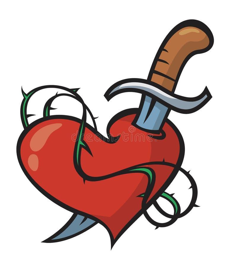 Coração e faca da tatuagem ilustração royalty free