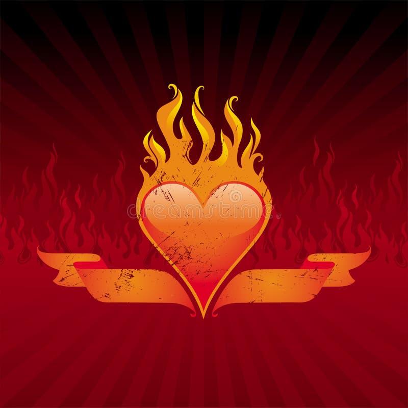 Coração e fitas flamejantes ilustração royalty free