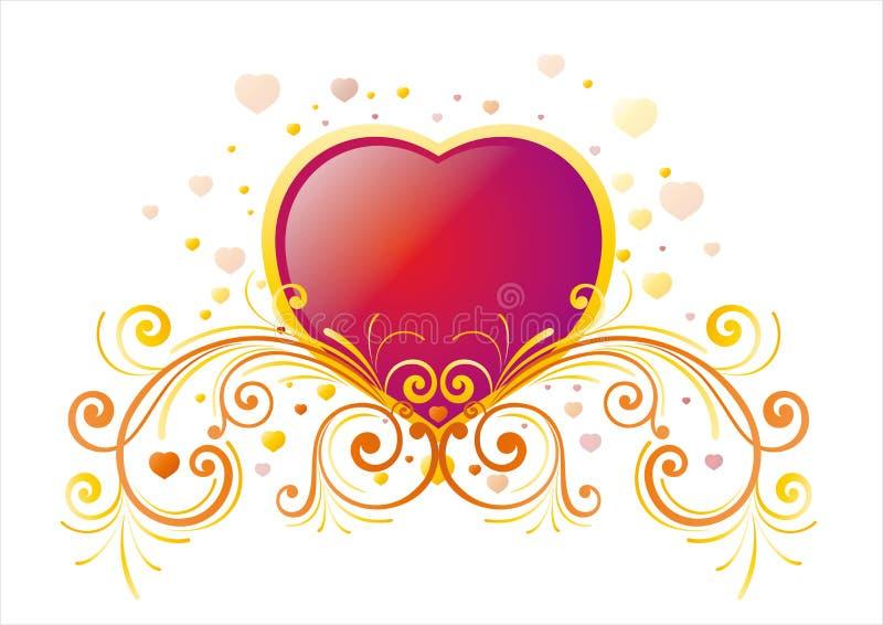 coração e fundo floral ilustração royalty free