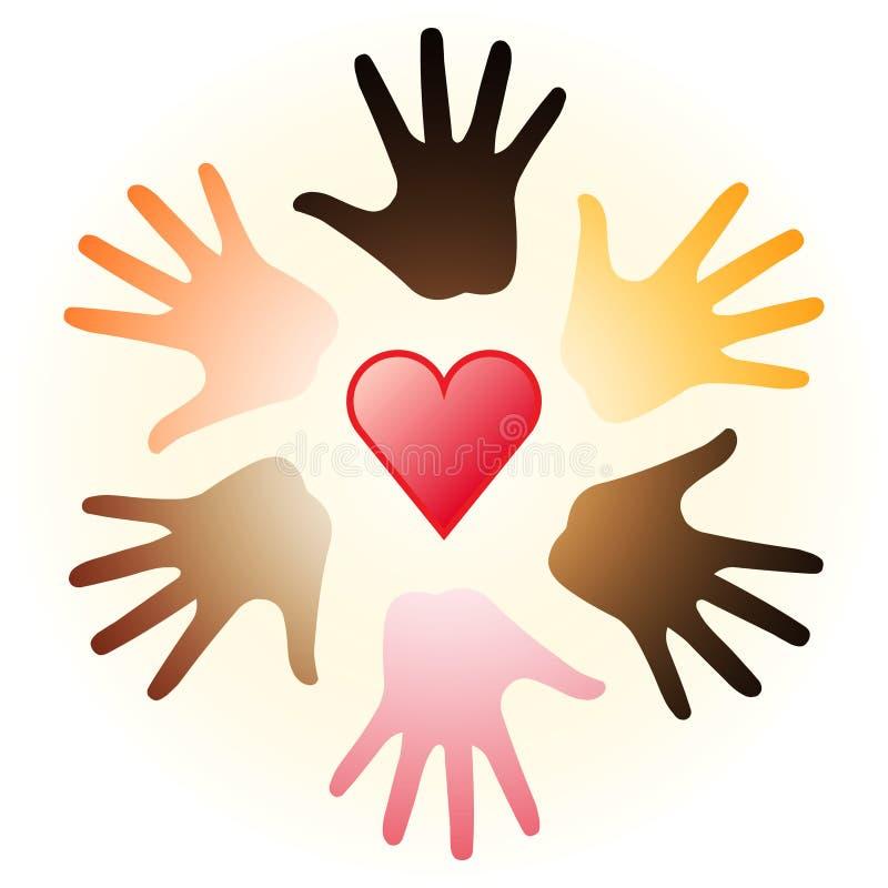 Coração e mãos ilustração stock